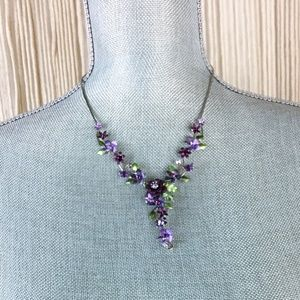 Statement Purple Flowers Necklace